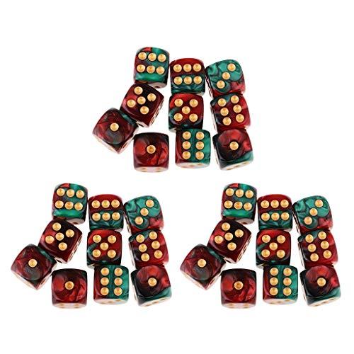 sharprepublic Juego De Dados De Juego De rol De Resina D6 De 16 Lados Cuadrados Translúcidos De 20 Piezas - 30pcs Rojo + Verde