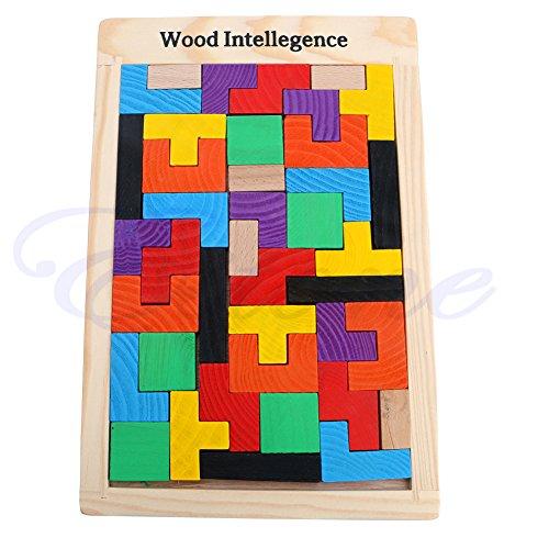 SimpleLife Handmade Jigsaw/Tetris Pentominoes Puzzle Juegos de Fiesta Juguetes de Madera Juegos Educativos, 1Set
