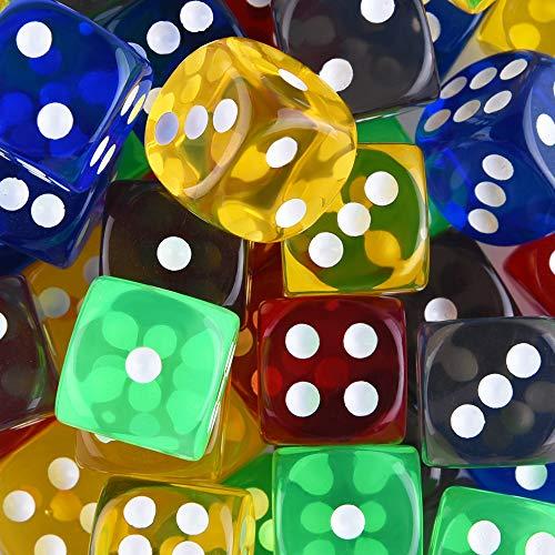 SIQUK 50 Piezas Juego de Dados de Juego 5 Colores Translúcidos Dados de Esquina Redondeados de 6 Lados con Bolsa de Almacenamiento Gratis para Juegos como Tenzi, Farkle, Yahtzee, Bunco o Teaching Math