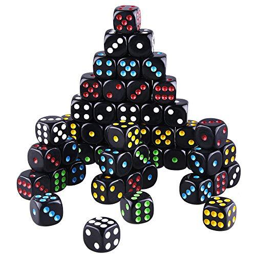 SIQUK 50 Piezas Juego de Dados Juego de Bordes Redondeados de 6 Lados Dados Negros con fichas Coloridas para Juegos como Tenzi, Farkle, Yahtzee, Bunco o Teaching Math