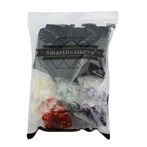 SmartDealsPro 5 x 7-Die Series 5 Colors Symphony Dungeons and Dragons DND RPG MTG Table Games Dice with Free Pouches by Smartdealspro