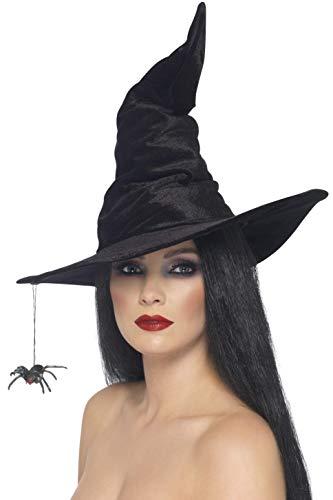 Smiffy'S 24146 Sombrero De Bruja Con Araña, Negro, Tamaño Único