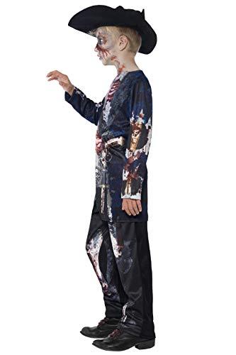 Smiffys-44318S Disfraz de Pirata podrido Deluxe, con Parte de Arriba, pantalón y Sombrero, impr, Color Negro, S-Edad 4-6 años (Smiffy'S 44318S)