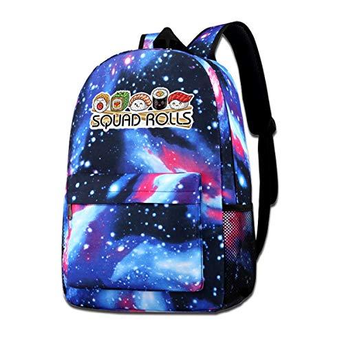 Squad Rolls Sushi Galaxy Casual Daypack - Mochila Unisex Bolsa de Hombro para la Escuela de Viaje