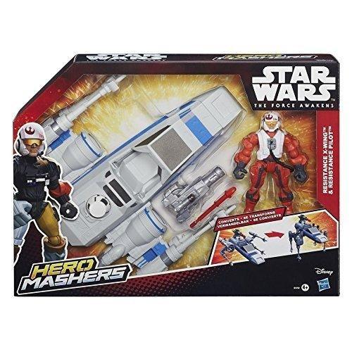 Star Wars Episode 7 Force Awakens Hero Mashers Resistance X Wing Vehicle + Pilot by Hasbro