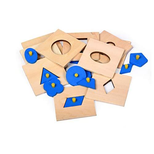 STOBOK 10 Piezas Juguete de Bloques Geométrico de Madera Montessori Juguetes Matemáticos para Niños