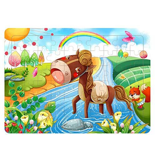 storefront Juguetes para Niños Rompecabezas De Madera Juego Educativo Temprano Animales De Dibujos Animados Anime Adecuado para Niños 3-7 Años Regalo Navideño (60 Piezas)