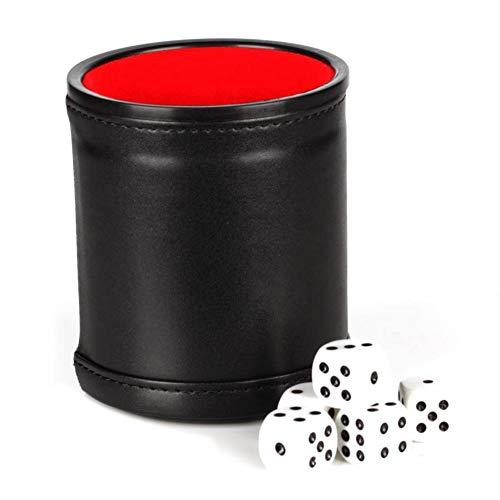 Stronrive Juego Tazas Dados Cuero PU, Cubilete Forrado con Compartimento Almacenamiento Tapa Fieltro con 5 Dados para La Mayoría Los Juegos Dados para Juegos Yahtzee Farkle, Juegos Dados (Negro)