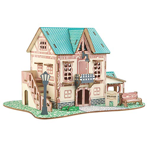SunYueY DIY Assembly Puzzle 3D Castle Villas House Architecture Modelo Educación Niños Toy, Perfect Intellectual Toy Gift Set Starry Sky Pequeño hotel