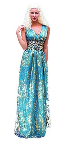 SYMTOP Traje Daenerys Targaryen Largo Vestido Azul Juego de Tronos Traje de Cosplay Fiesta de Halloween - M