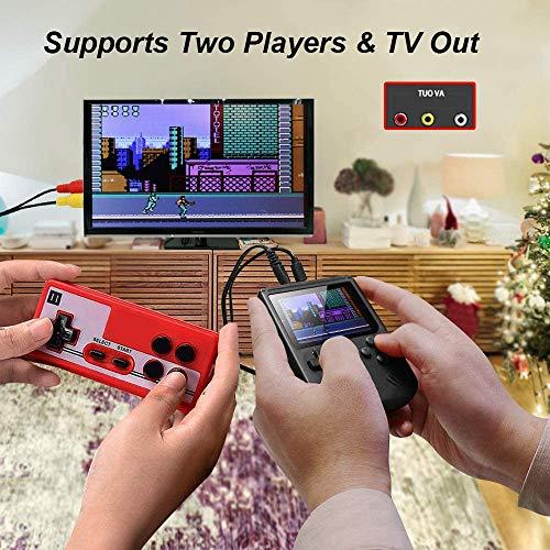 Tanouve Consola Retro, Videoconsolas Consola de Juegos Portátil con 400 Juegos Clásicos Pantalla LCD 3 Pulgadas USB Recargable Soporte Conectar TV 2 Jugadores para Hombres Amigos en Navidad-Negro