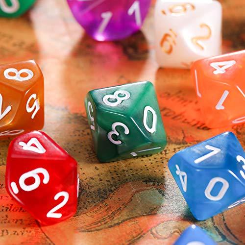TecUnite Conjunto de Dados Poliédricos de 25 Piezas con Bolsa Negra para DND RPG MTG y Otros Juegos de Mesa con Surtiddo de Multicolor al Azar (D10)