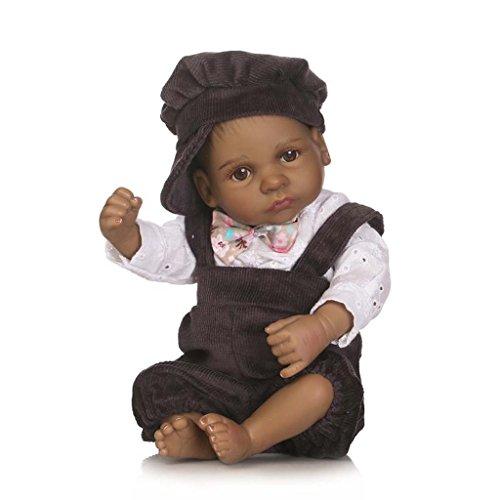 Terabithia Mini 10 Pulgadas 26cm Negro Alive Reborn bebé muñecas Silicona Cuerpo Completo African American Boy Ojos Abiertos
