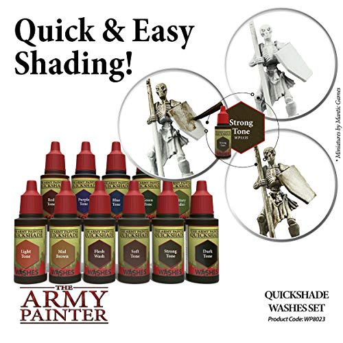 The Army Painter | Quickshade Washes Set | 11 Acrilic Colours Quickshade | Miniature Model Painting