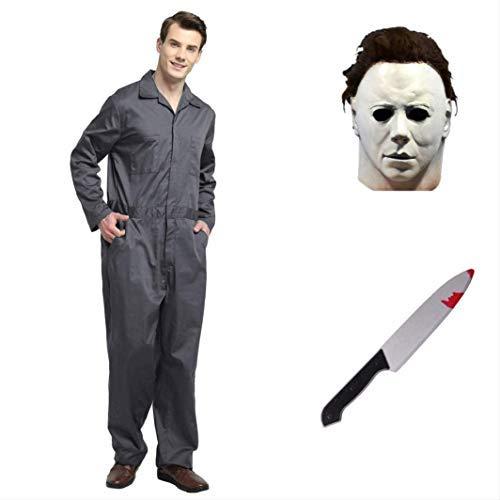 thematys® Juego de Disfraces de películas de Terror de Michael Myers con máscara y Cuchillo en 5 tamaños Diferentes Carnaval y la Noche de Brujas (L)