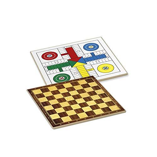 Tiendas LGP Cayro -Tablero Parchís/Ajedrez, Damas 4 Jugadores 33x33 cm.+ Cubiletes, Dados y fichas de Parchís