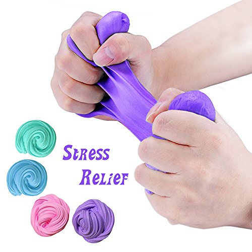 TIME4DEALS Fluffy Slime Kit, 4-Pack Jumbo Floam Slime Kit para Niños Adolescentes Adultos para el Alivio del estrés, Ideal para Ejercicios de Mano y Dedos (3pcs Squishy Gatos incluir)