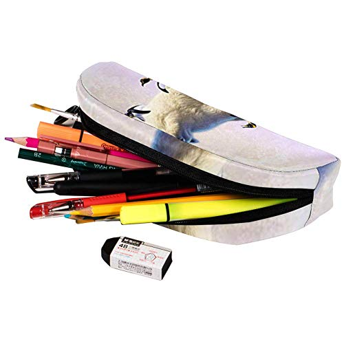 TIZORAX - Estuche para lápices, diseño de oso polar con pingüino en el hielo, estuche de papelería, estuche para cosméticos, para adolescentes, niñas, niños y niñas