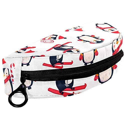 TIZORAX Pingüino Patinaje con Sombrero Estuche de Lápiz Bolsa de Papelería Estuche Caja de cosméticos para adolescentes, Niñas, Niños y Niños