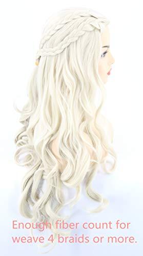Topcosplay Peluca Rubia para Mujer, Larga Ondulada Daenerys Targaryen Peluca con Trenzas Cosplay Khaleesi Peluca para Disfraz de Halloween, Fiesta