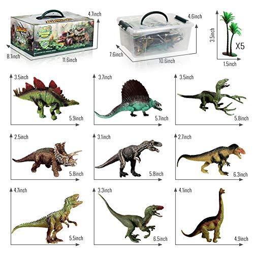 TTMOW Juego de Dinosaurios con 9 Figura de Dinosaurios, Tapete de Juego y 5 Arboles Juguetes Educativos para Niños