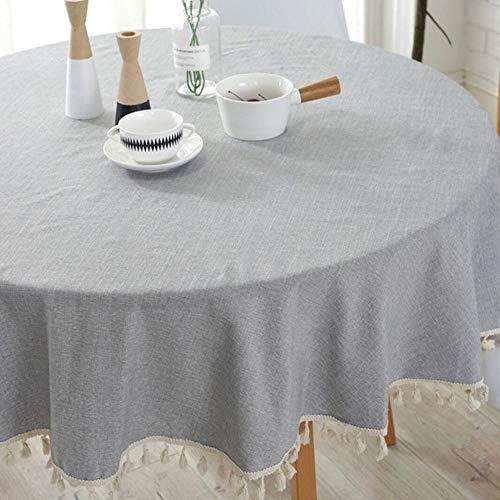 TWTIQ Simple Elegante Borla Mantel Algodón Lino Mantel Lavable Cuadrado Gris Rejilla Polvo Mesa Cubierta Cocina Mesa Decoración Redondo B 100 Cm / 39.37In