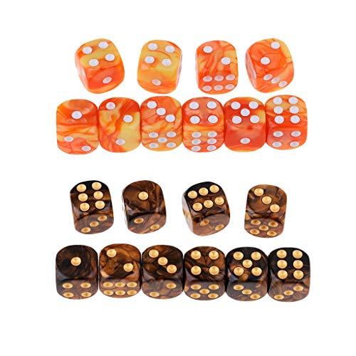 TX GIRL 20pcs 6 Lados Dados Set Colores D6 Punto Dados Dados del Juego De Dados del Casino Brillantes For Regalos Juegos De Casino En La Enseñanza 16 Mm (Size : 16 mm)