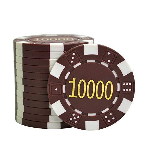 TX GIRL 25PCS / Lot ABS Fichas De Póquer Dorado Dados Virutas De Póker Monedas Póquer Texas Jeton Juegos Monedas Fichas Casino Negro Jack Pokersatr Metal 11.5g / Pc (Color : 10000)