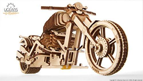 UGEARS Motocicleta VM-02 - Maqueta de Moto Mecánica - Puzzle 3D Madera - Para Motoristas