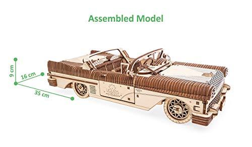 UGEARS - Puzle 3D para Adultos Dream Cabriolet - Maqueta Mecánica de Madera Construcción Rompecabezas para Niños Juguete de Aprendizaje DIY Coche Set de Ensamblaje de Coche Convertible
