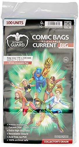 Ultimate Guard Comic Bags Big Bolsas con Cierre Reutilizable de Comics Current Size (100)