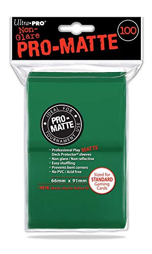 Ultra Pro- Green Abysse Pro-Matte Protectores de baraja de Cartas, 100 en Total, (6,6x 9,1cm), Color Verde (Ultra ProACCPRO044-Green)
