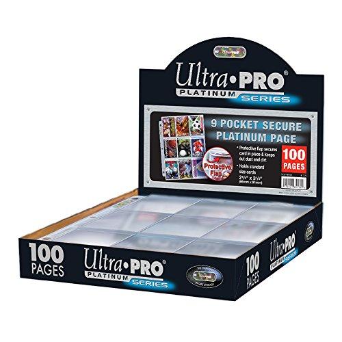 Ultra Pro Páginas con 9 Bolsillos de 7 cm para guardas Cartas, Platinum 84732; 100 páginas
