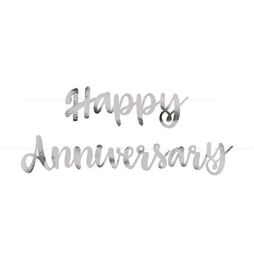 """Unique Party - Guirnalda de Letras de Aniversario con texto""""Happy Anniversary"""" - Color Plata - Conjunto de 2 (72607)"""