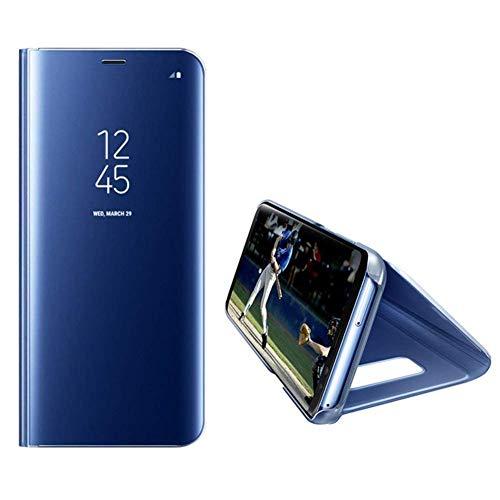 Uposao Espejo Funda Compatible con Huawei Mate 30 Pro Carcasa Libro de Cuero Mirror Espejo Brillante Funda Flip Case Cover Cobertura Completa Soporte Plegable Funda para Huawei Mate 30 Pro,Azul