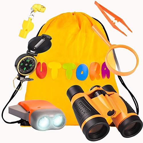 UTTORA Kit de Binoculares para Niños, Kit de Exploración para Niños 7 en 1, Prismáticos, Linterna LED de Mano, Brújula, Lupa, Silbato, Mochilla de Colección, Juego de Explorador para Niños (Orange)