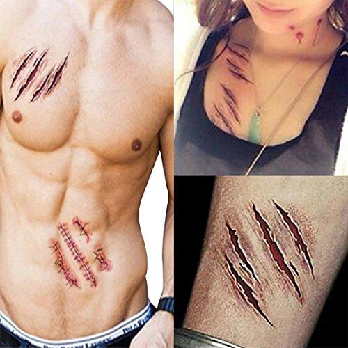 UU19EE Halloween Zombie Cicatrices Tatuaje con Falsa costra sangrienta Maquillaje Halloween decoración terrorista Herida asustadiza lesión en la Sangre Pegatina