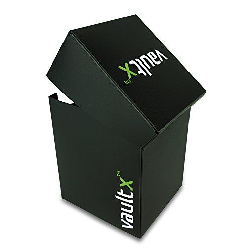 Vault X® Caja Grande de Cartas con 150 Fundas Negras - Tamaño Grande para 100+ Cartas en Fundas - Porta Tarjetas Libre de PVC para TCG (Negro)