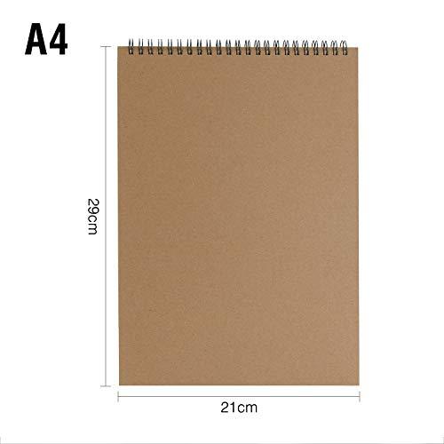 VEESUN Bloc de Dibujo A4, 2pcs Cuaderno de Dibujo Bonitos Sketchbook con Tapa Dura 30 Hojas, DIY Libros de Visitas para Escribir Dibujo Adecuado para Lápiz Acuarela Dibujo Escritura, 160 GSM