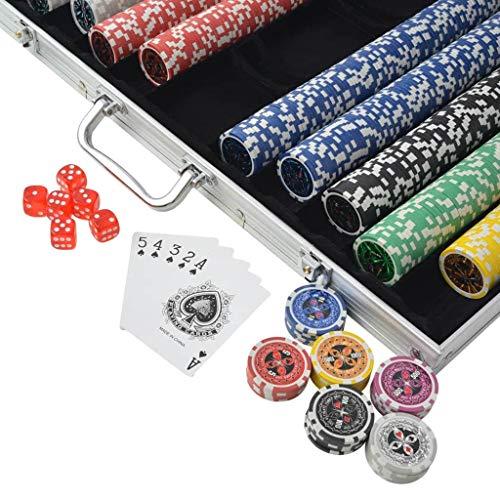vidaXL Juego de Póker con Maletín y 1000 Fichas Láser Aluminio Set de Póquer