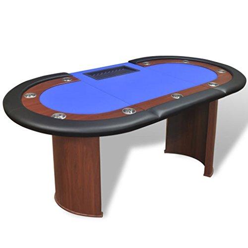 vidaXL Mesa de póker 10 Jugadores con área de Reparto Bandeja fichas de Color Azul