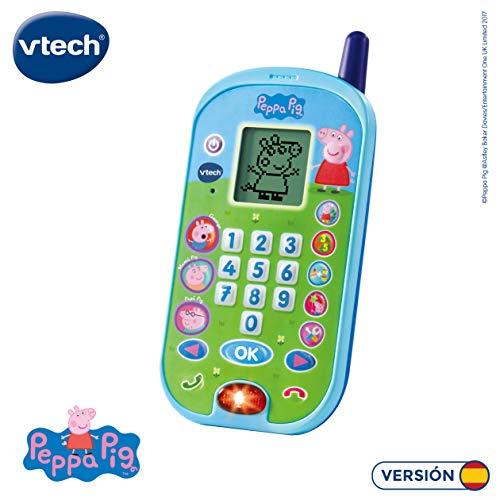VTech-El teléfono de Peppa Pig Móvil Ectrónico Interactivo Que Simula Conción Tefónica con El Niño y Las Voces de Todos Los Personajes de La Familia, Multicolor, Talla Única (3480-523122)