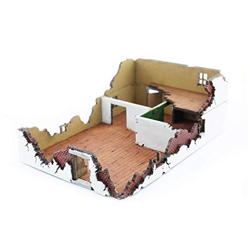 War World Gaming War at World - Casa 1 destruida en DM Escala 15mm - WW1 WW2 Wargame Escenografía Modelismo Diorama Maqueta Juego de Mesa Wargaming Edificio Ruinas Miniaturas