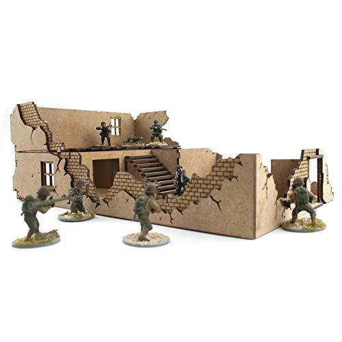 War World Gaming War at World - Casa 1 destruida en DM Escala 28mm - WW1 WW2 Wargame Escenografía Modelismo Diorama Maqueta Juego de Mesa Wargaming Edificio Ruinas Miniaturas