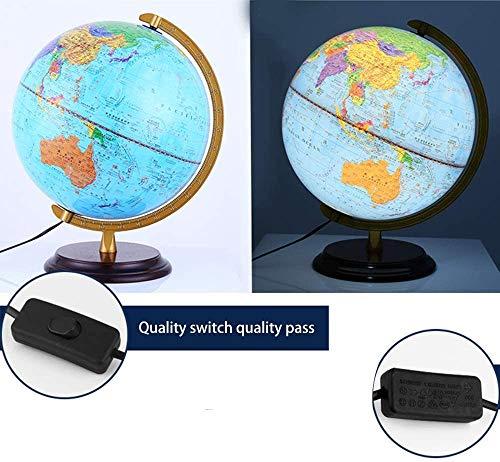 WERTY 2 en 1 Iluminado Globo del mundo por el Día de los niños y noche HD Globo Enseñanza de plástico Mapa de escritorio para el estudiante Ministerio del Interior