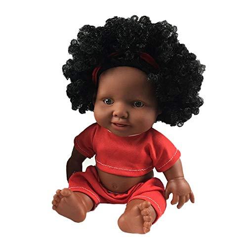Winnerruby Africana Baby muñeca Suave Silicona Negra muñeca, 10Pulgadas