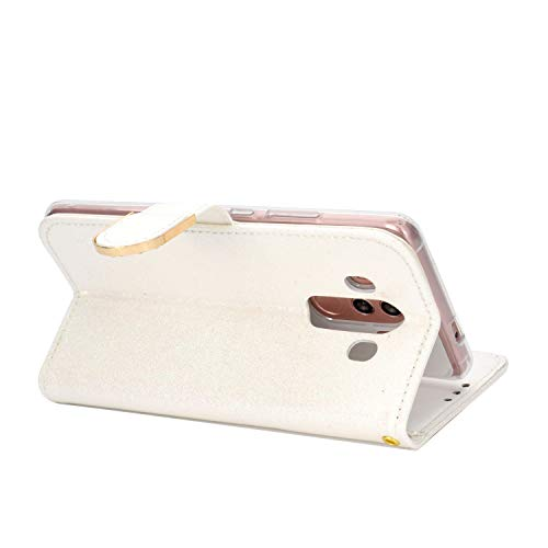 WIWJ Funda para Huawei Mate 10 Pro Carcasas Retro Cristal Sparkle Cosiendo PU Cuero Case Silicona TPU Cierre Magnético Billetera Soporte Funda 360 Libro Flip Cover-Blanco