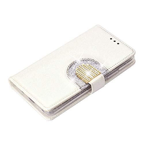 WIWJ Funda para Huawei Mate 20 Pro Carcasas Retro Cristal Sparkle Cosiendo PU Cuero Case Silicona TPU Cierre Magnético Billetera Soporte Funda 360 Libro Flip Cover-Blanco