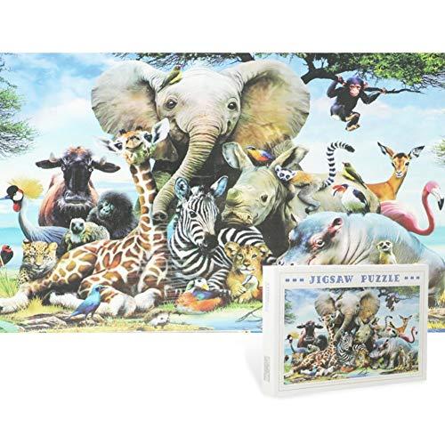 WRMOP Reino Animal Jigsaw Papel Puzzle1000 Piezas -Puzzle Juguetes De Bricolaje Rompecabezas For Adultos, Adolescentes Y Niños, 75 × 50 Cm 06/20