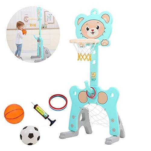 XIUYU Baloncesto Infantil del Soporte del, aro de Baloncesto Ajustable 3-en-1 Ajustable for niños Baloncesto Soporte Interior al Aire Libre for los niños, Azul (Color : Blue)